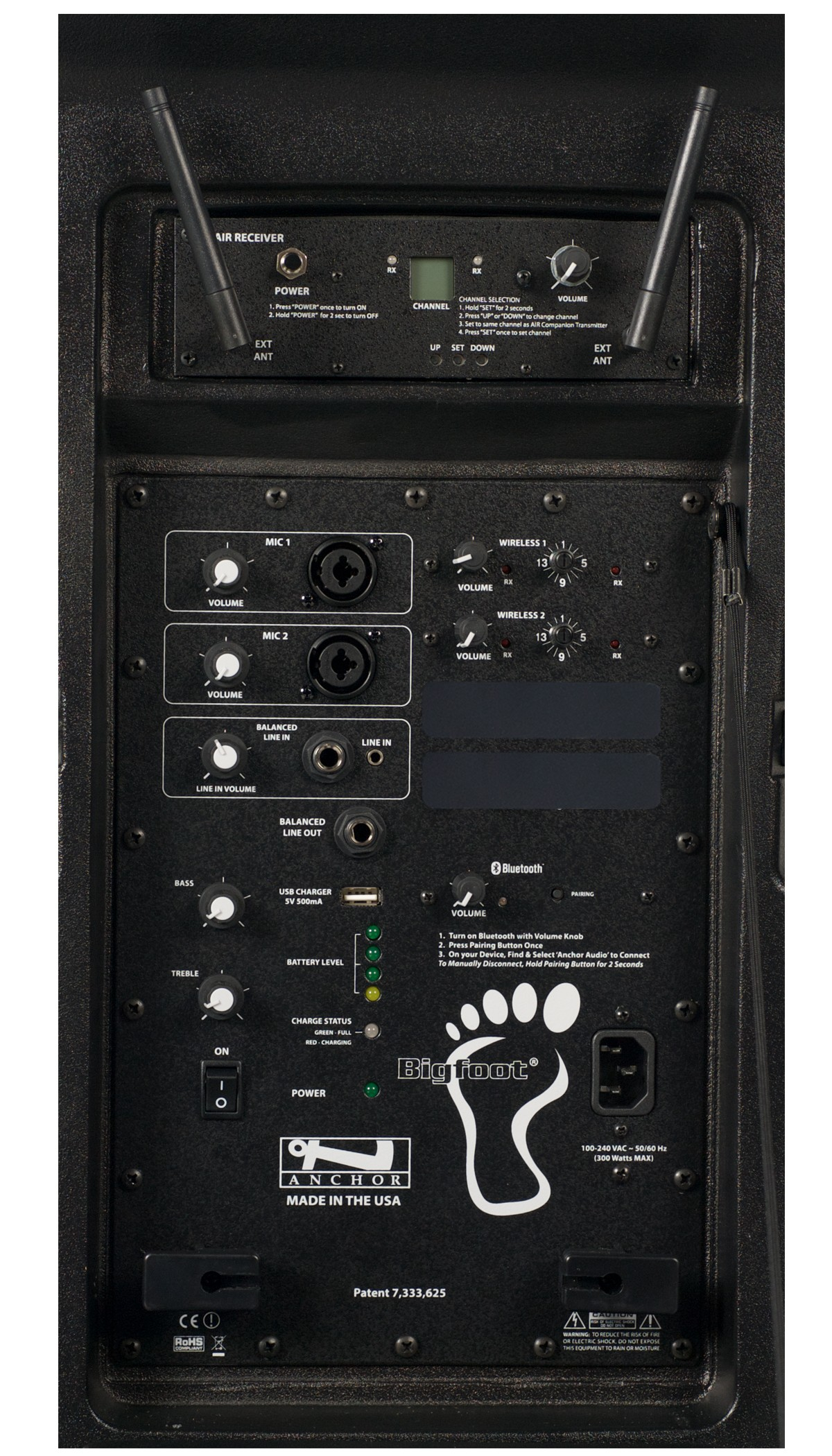Anchor Audio BIG-8000RU2 Bigfoot with Bluetooth, AIR wireless receiver & two wireless receivers