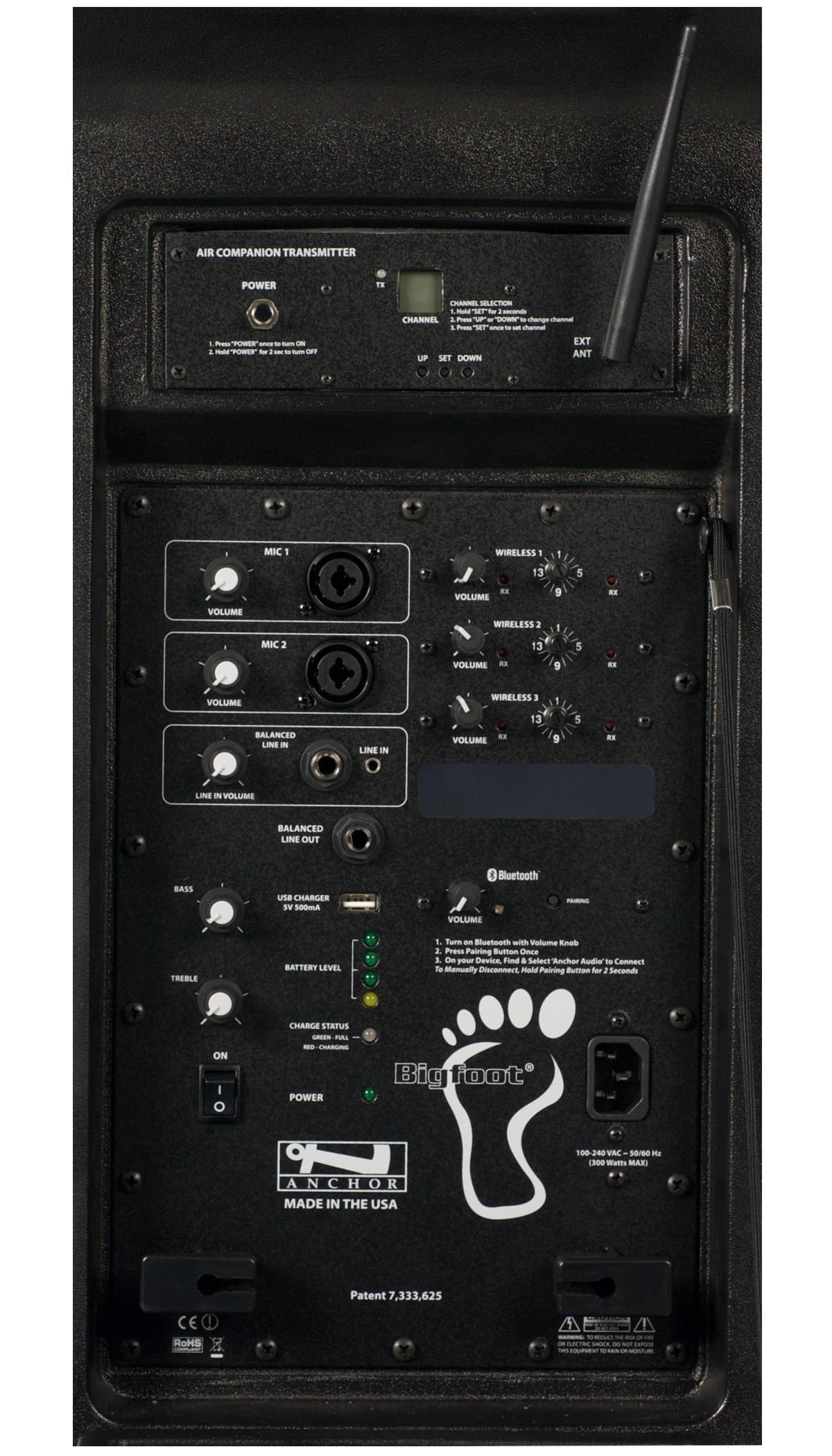 Anchor Audio BIG-8000XU3 Bigfoot with Bluetooth, AIR wireless transmitter & three wireless receivers