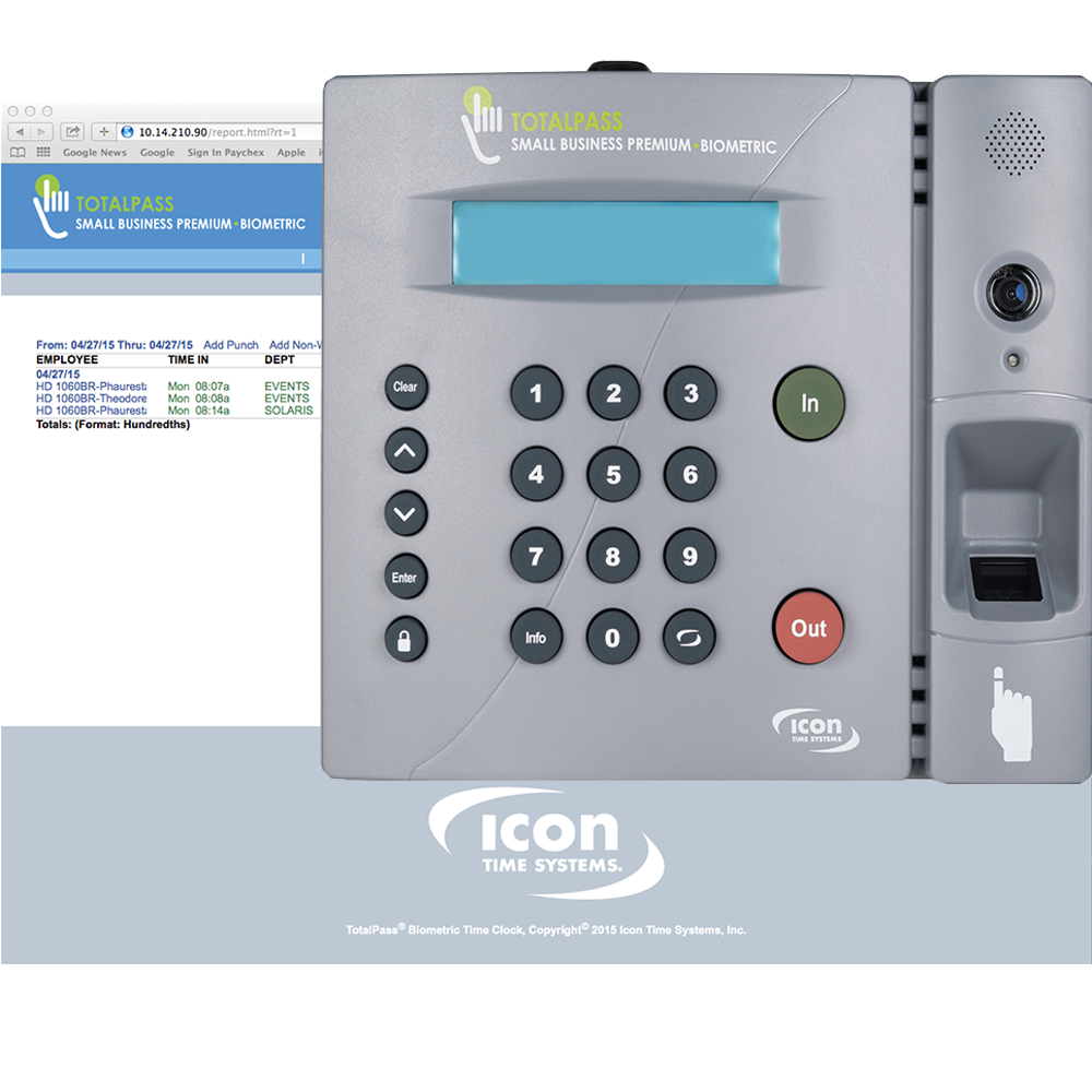 Icon Time TotalPass Small Business Premium • Biometric (Now Ships Wifi Enabled)